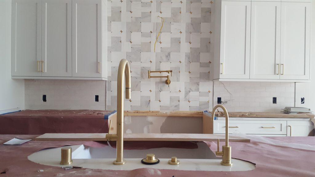kitchen remodel tile installation backsplash plumbing faucet fixtures