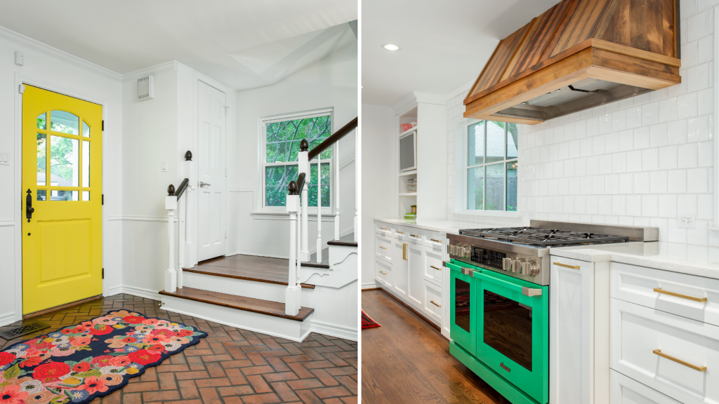 colorful kitchen entry range hood dallas texas