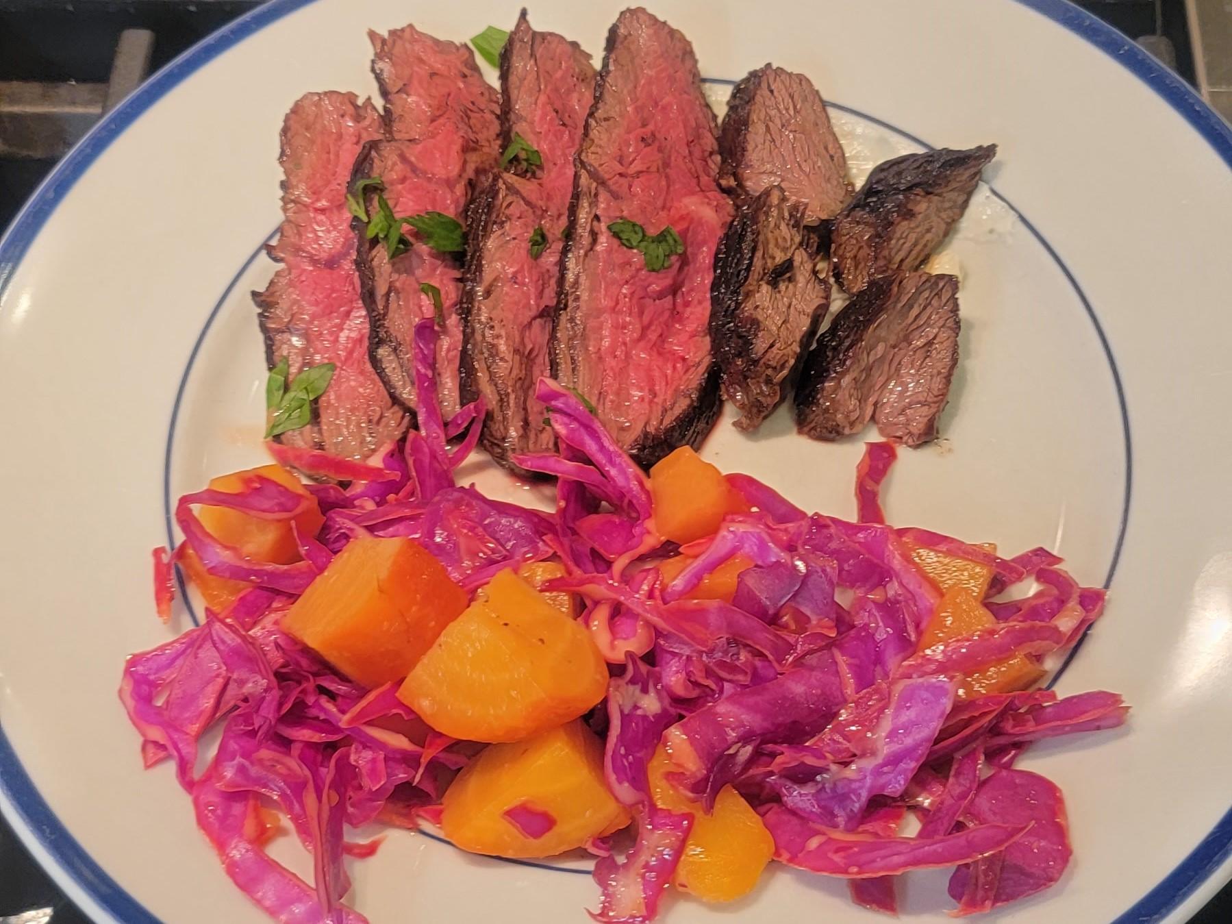 hanger steak beet cabbage salad