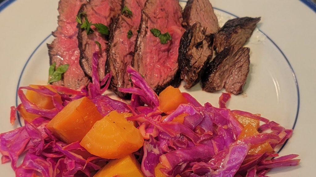 hanger steak with salad
