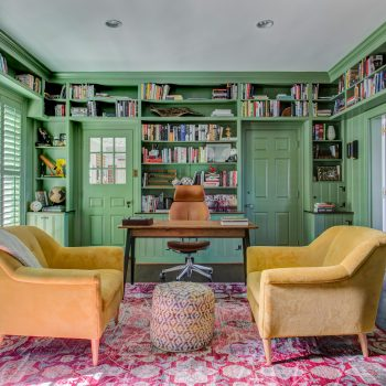 green painted library with yellow seats and wood desk kitchen design concepts dallas texas
