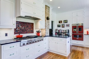 traditional munger place historic white red black kitchen